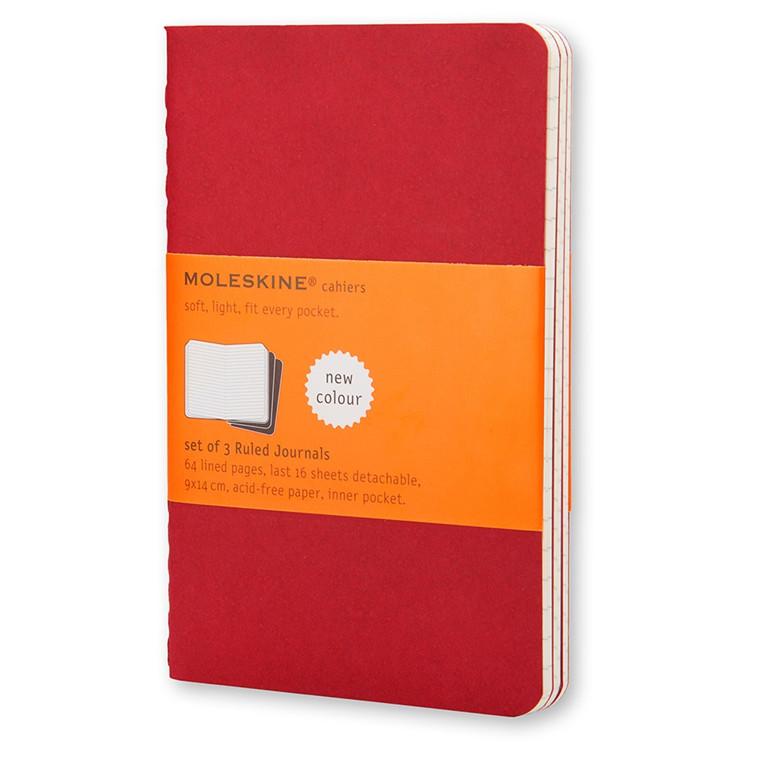 Moleskine Cahier Lommebog 9 x 14 cm - Cranberry Red 64 linjeret sider - Sæt med 3 stk