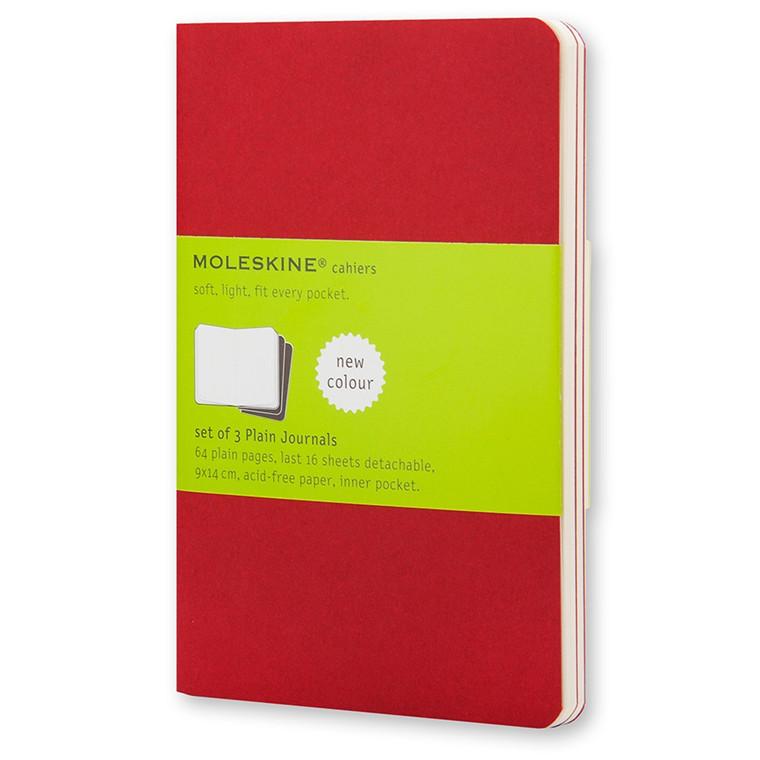 Moleskine Cahier Lommebog 9 x 14 cm - Cranberry Red 64 blanke sider - Sæt med 3 stk