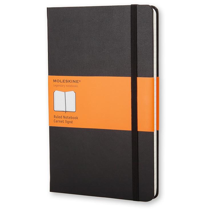 Moleskine Classic Pocket - Sort notesbog med linjeret papir - 9 x 14 cm