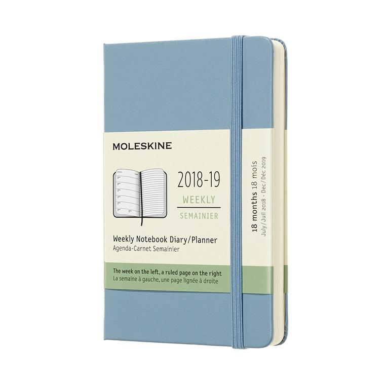 Moleskine Notebook Ugekalender 2019 | 18 måneder Cinder Blue 9 x 14 cm