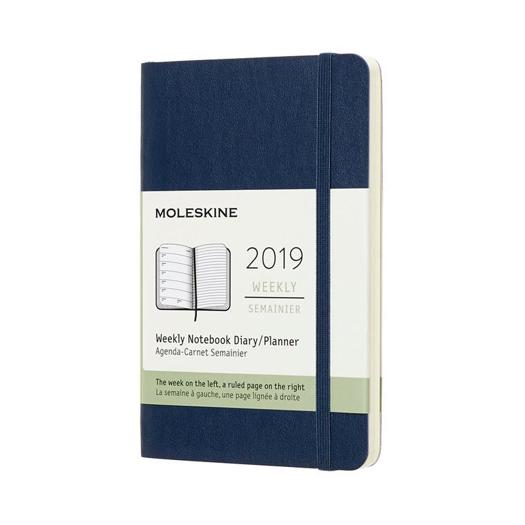 Moleskine Ugekalender 2019 | Sapphire Blue | Blødt omslag 9 x 14 cm