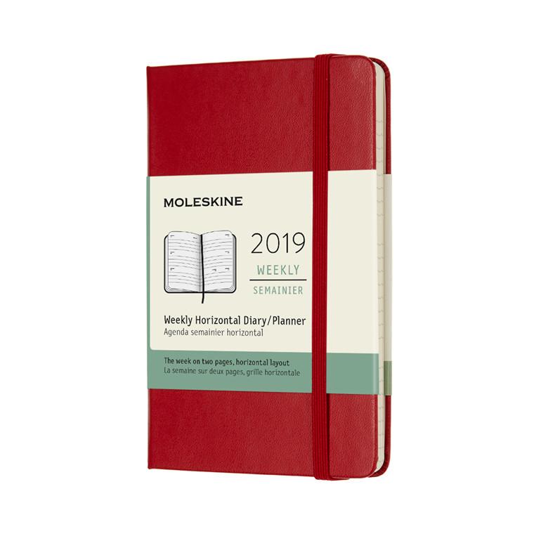 Moleskine Ugekalender 2019 | Scarlet Red  9 x 14 cm horisontal