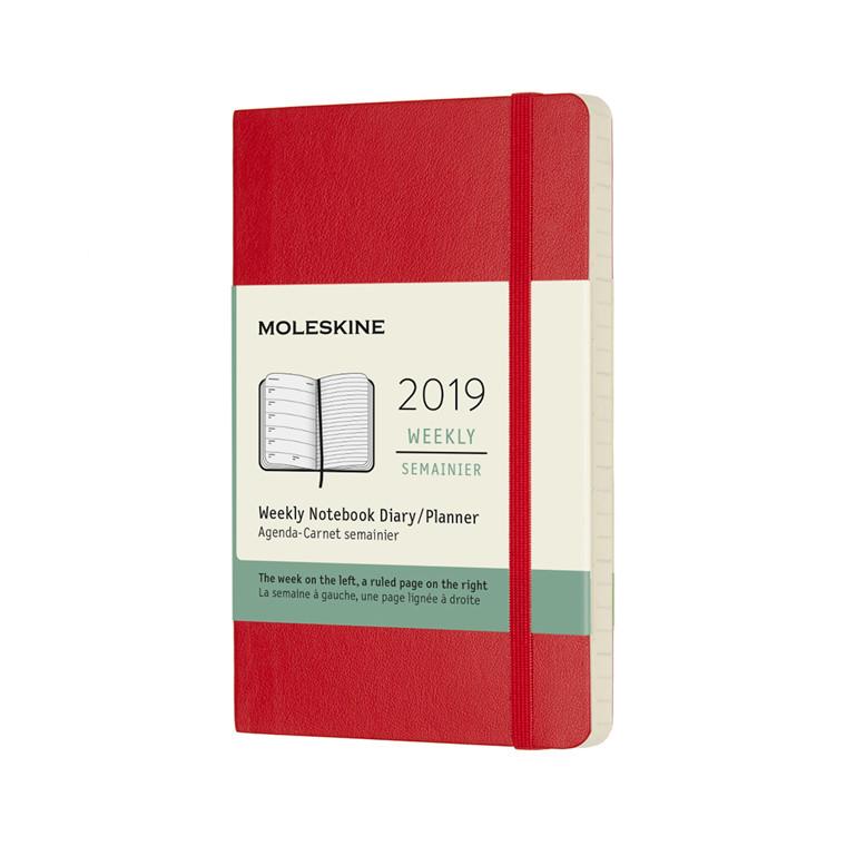 Moleskine Ugekalender 2019 | Scarlet Red blødt omslag  9 x 14 cm