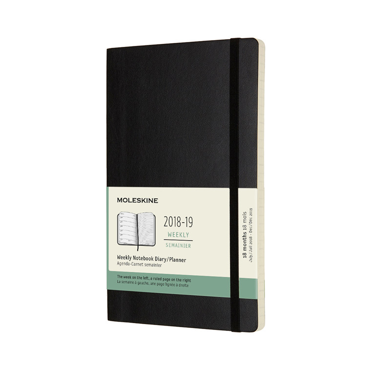 Moleskine Weekly Notebook 2018-19 | 18-months black soft cover 13 x 21 cm