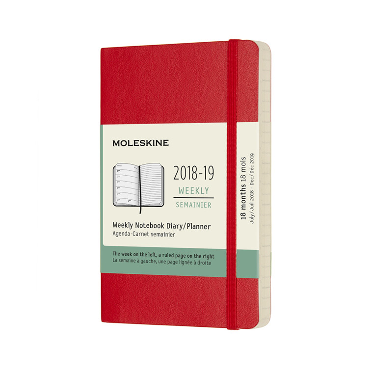 Moleskine Weekly Notebook 2018-19 | Scarlet Red soft cover 9 x 14 cm