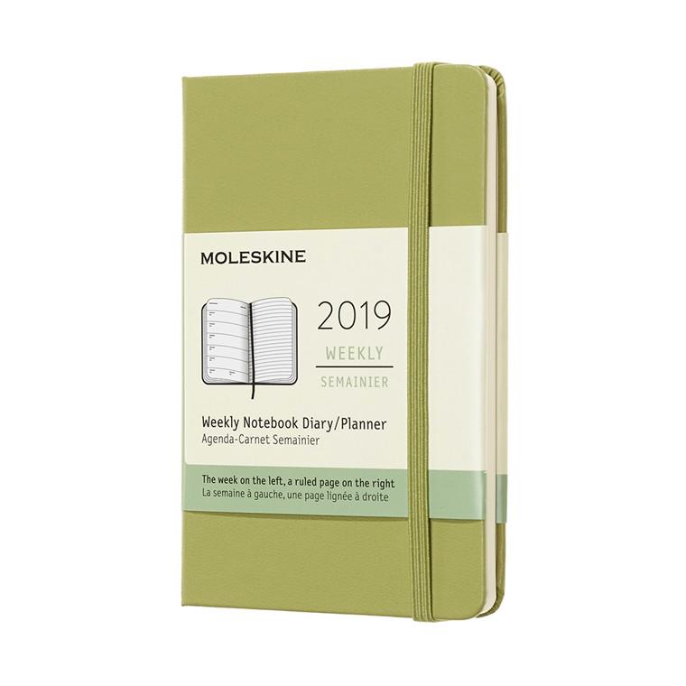 Moleskine Weekly Notebook 2019 | Ugekalender Lichen Green 9 x 14 cm