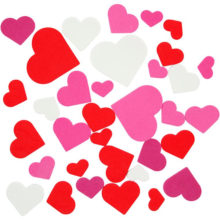 Mosgummi størrelse 20-45 mm tykkelse 2 mm assorteret farver hjerter | 1360 stk.