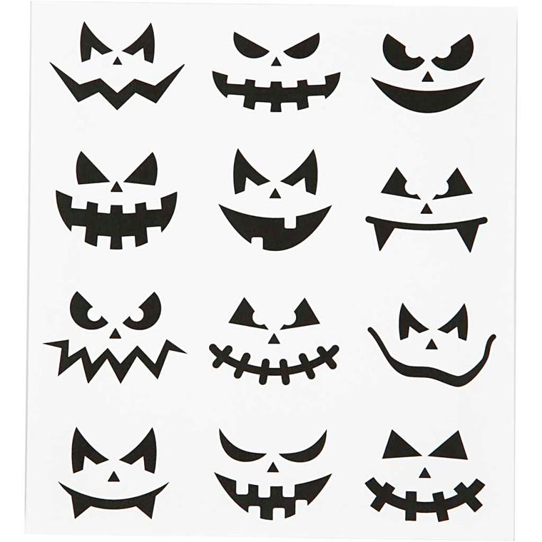 Motivstickers, ark 15x16,5 cm, halloween - små ansigter, 1ark