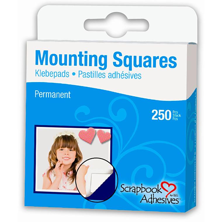 Mounting Squares - tapestykker, str. 12x13 mm, hvid, 250stk.