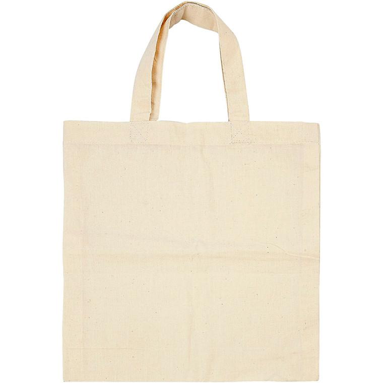 Mulepose i 100% bomuld med hank - 27,5 x 30 cm - 5 stk