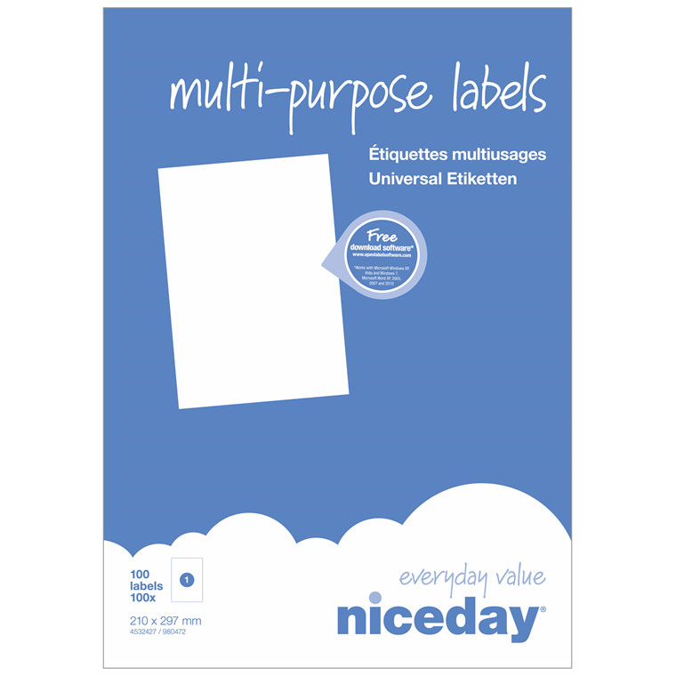 Multi label - niceday A4 1 pr. ark 4532427 210 x 297 mm - 100 ark
