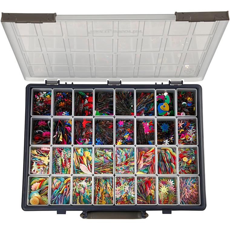 Multi pailletmix, inkl. Raaco sortimentsæske med 32 løse rum, 32x25g