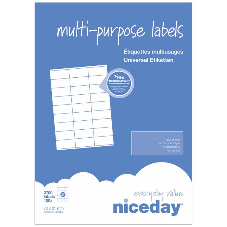 Multilabel - niceday A4 3998673 27 pr. ark 70 x 31 mm - 100 ark