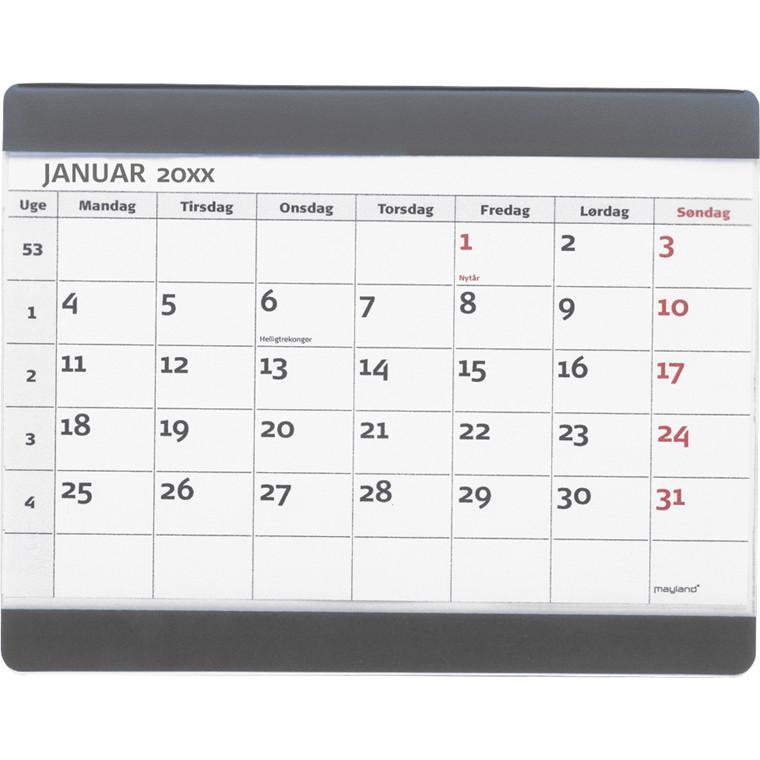 Musemåtte med 2018 månedskalender 25 x 19 cm - Mayland 18 1380 00
