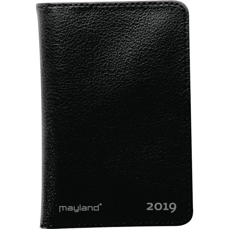 Nano Planner 2019 uge tværformat sort kunstskind Mayland 6 x 11 cm - 19 0730 10