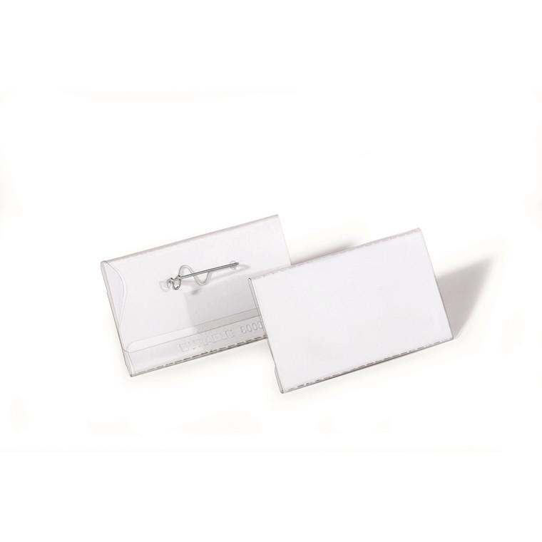 Navneskilt m/nål robust plast 40x75mm 100stk/pak