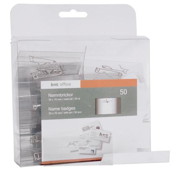 Navneskilte - 30 x 70 mm med sikkerhedsnål og hvidt papindlæg