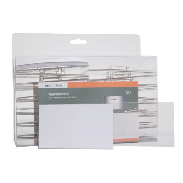 Navneskilte - 60 x 100 mm med sikkerhedsnål og hvidt papindlæg
