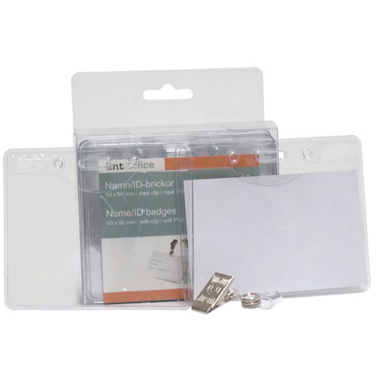 Navneskilte til ID-kort 60 x 90 mm blød plast - liggende format