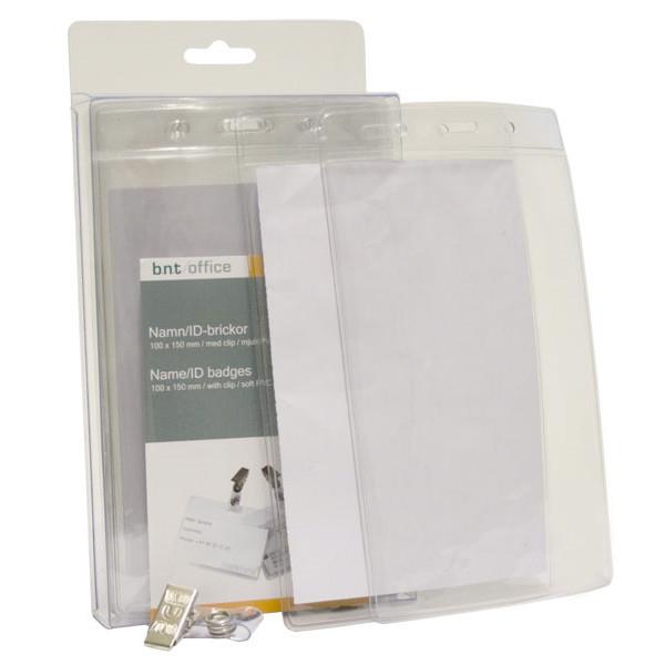 Navneskilte - til adgangskort 100 x 150 mm blød plast stående format