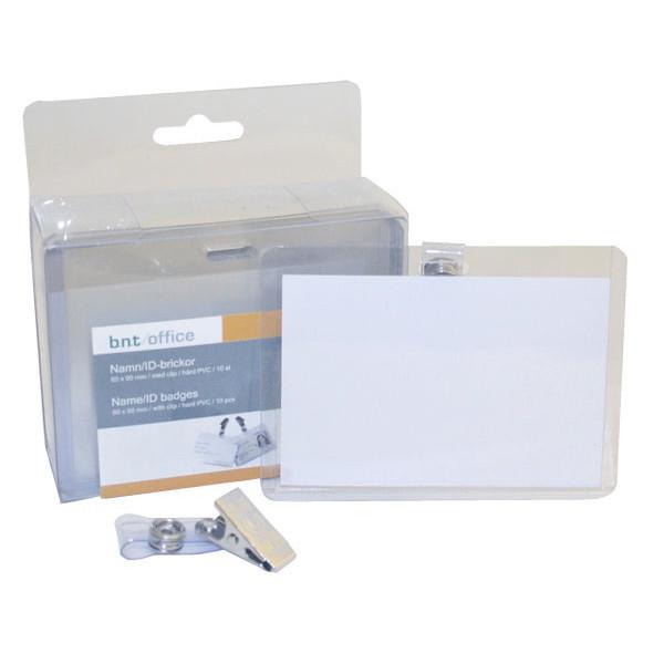 Navneskilte - til ID-kort 60 x 90 mm hård plast liggende format