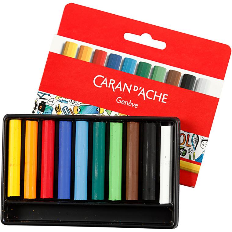 Caran d'Ache farver Neocolor 1 - Junior sæt med 10 forskellige farver