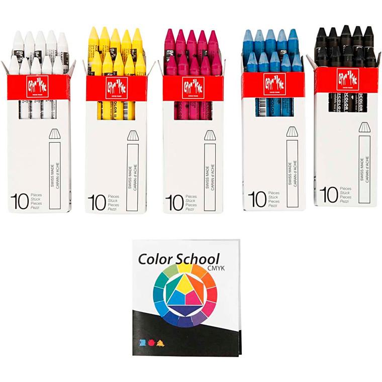 Neocolor II, tykkelse 8 mm, L: 10 cm, ass. farver, primærfarver, Farveskolevejledning medfølger, 5x10stk.