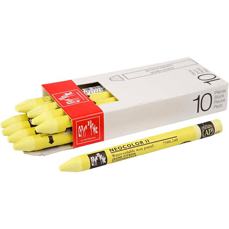 Neocolor II, tykkelse 8 mm, L: 10 cm, citron gul, lemon yellow (240), 10stk.