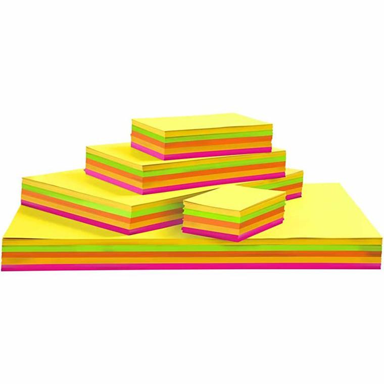 Neonkarton, A2+A3+A4+A5+A6 , 180 g, ass. farver, 1800ass. ark