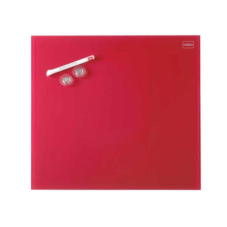 Nobo Diamond Glassboard - Rød glastavle 45 x 45 cm
