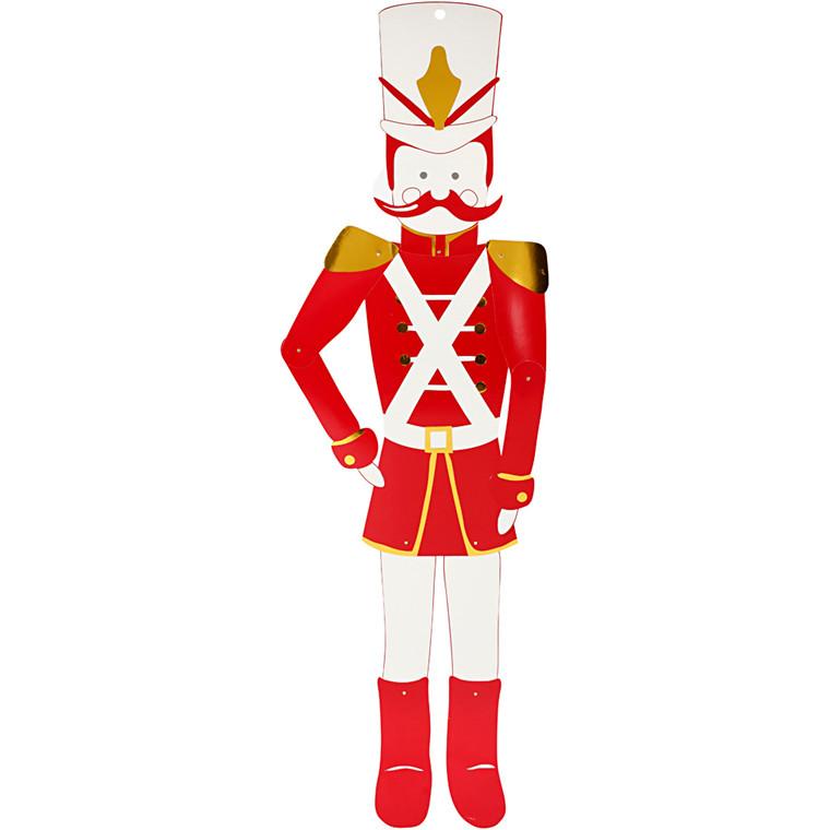 Nøddeknækker, H: 110 cm, B: 30 cm, hvid, guld, rød, 1stk., 300 g