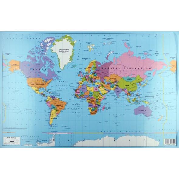 Verdenskort skrivebordsunderlag 59 x 39 cm