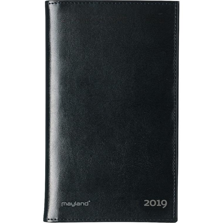 Mayland 2019 Noteringskalender i sort kunstskind 10 x 16 cm 2 dage/side - 19 1800 00