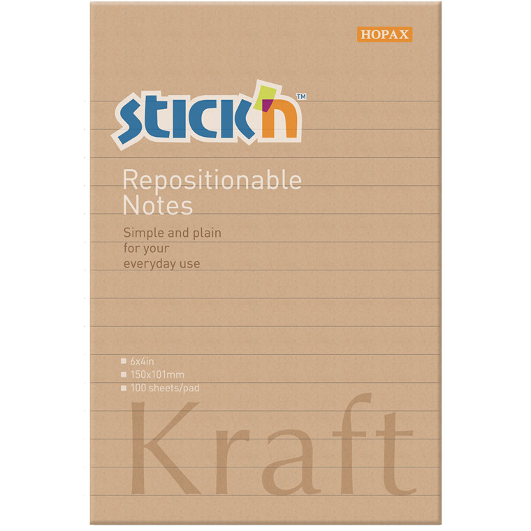 Notes Stick'N Kraftblock brun 150x101mm m/linier 100blade genbrug