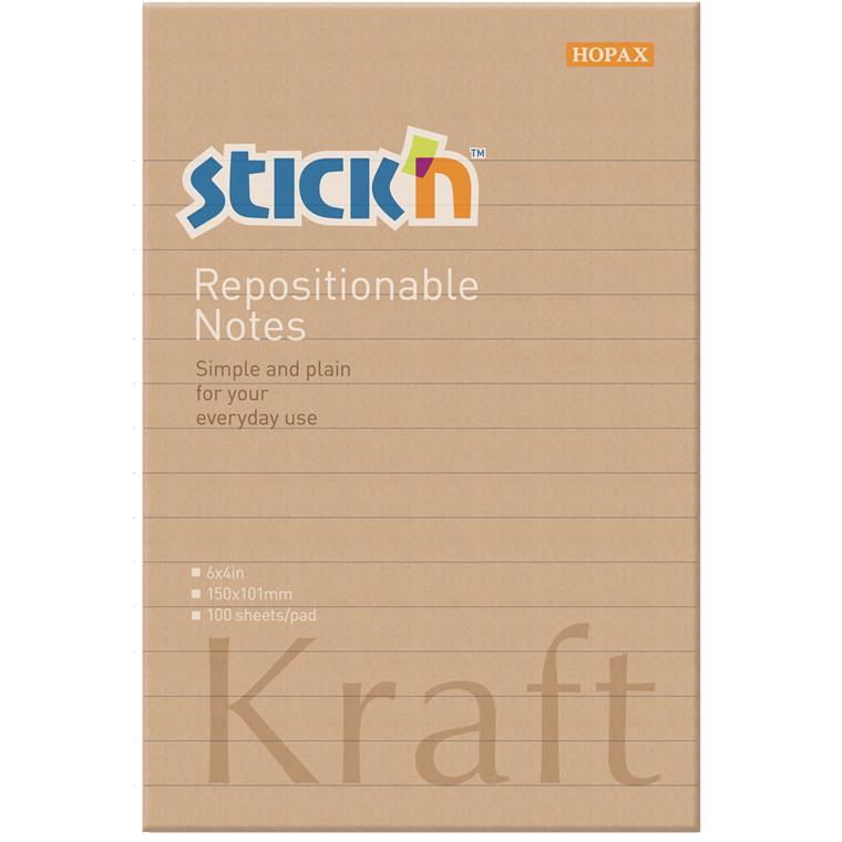 Notes Stick'N Kraftblock brun 150x101mm m/linier 100blade genbrug
