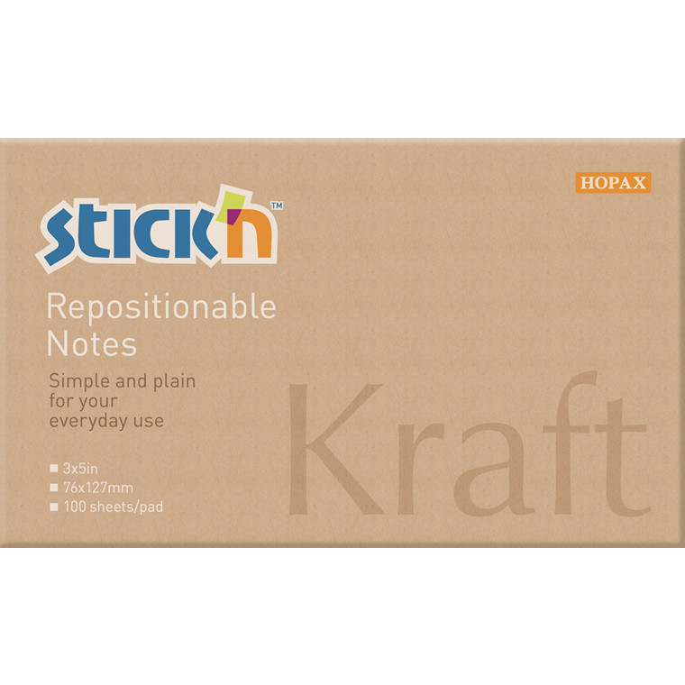Notes Stick'N Kraftblock brun 76x127mm 100blade genbrug