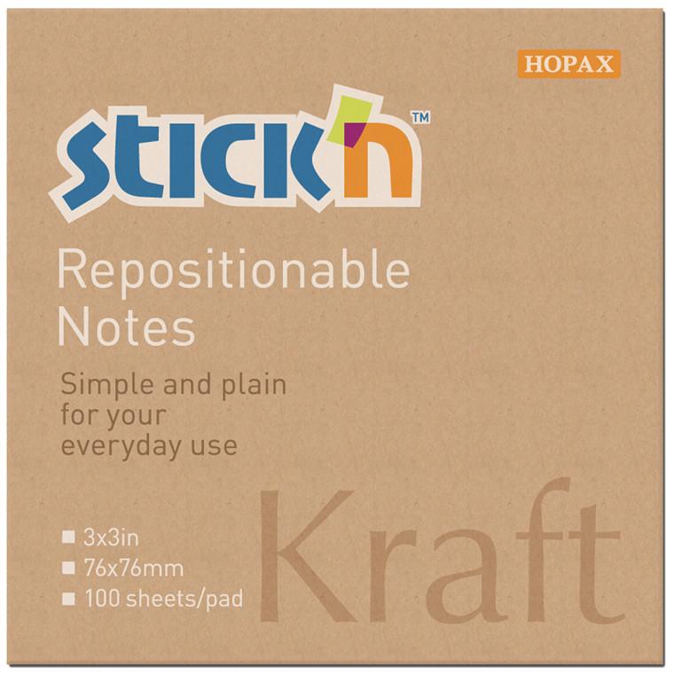 Notes Stick'N Kraftblock brun 76x76mm 100blade genbrug