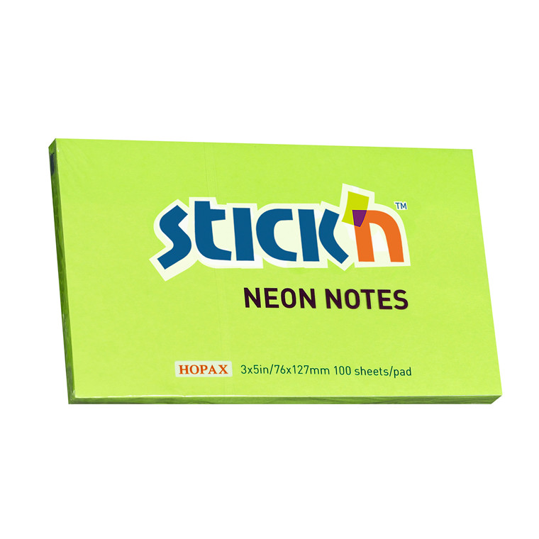 Notes Stick'N NEON grøn 76x127mm 100blade