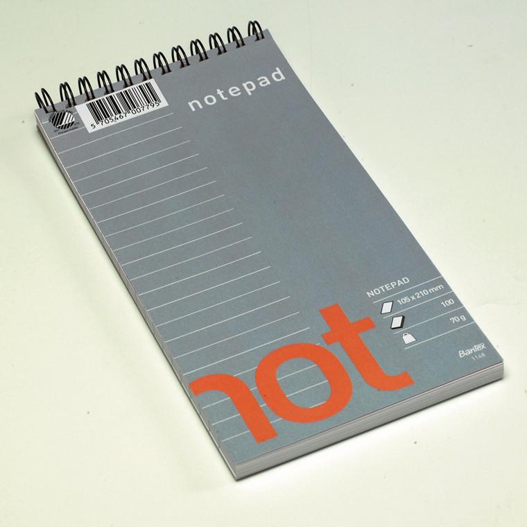 Notesblok Bantex 102x210mm linieret Wire-o spiral 70g 100blade