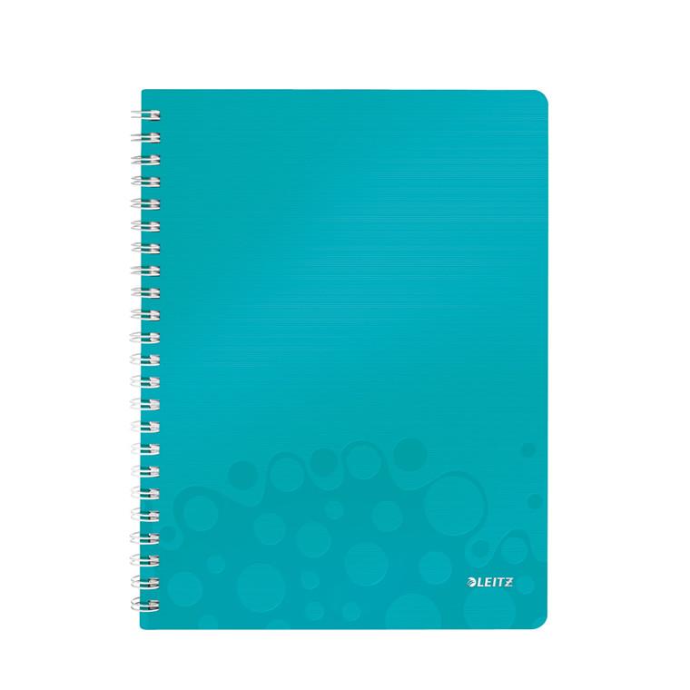Notesbog A4 Leitz WOW - Isblå omslag linjeret papir med huller - 80 sider