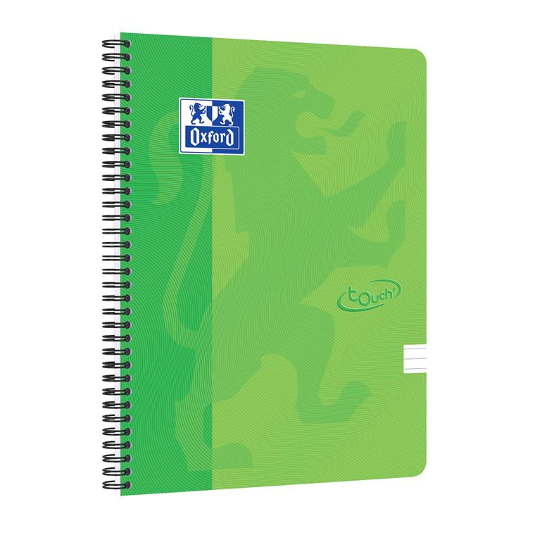 Notesbog Oxford TOUCH A4+ grøn linieret 90g