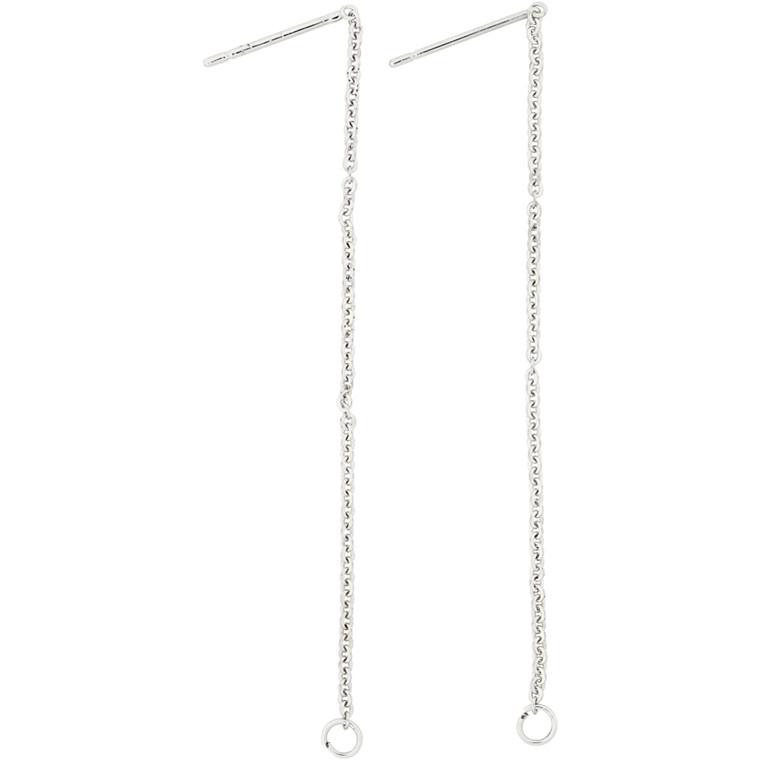 Ørering med kæde, L: 70 mm, forsølvet, 1par