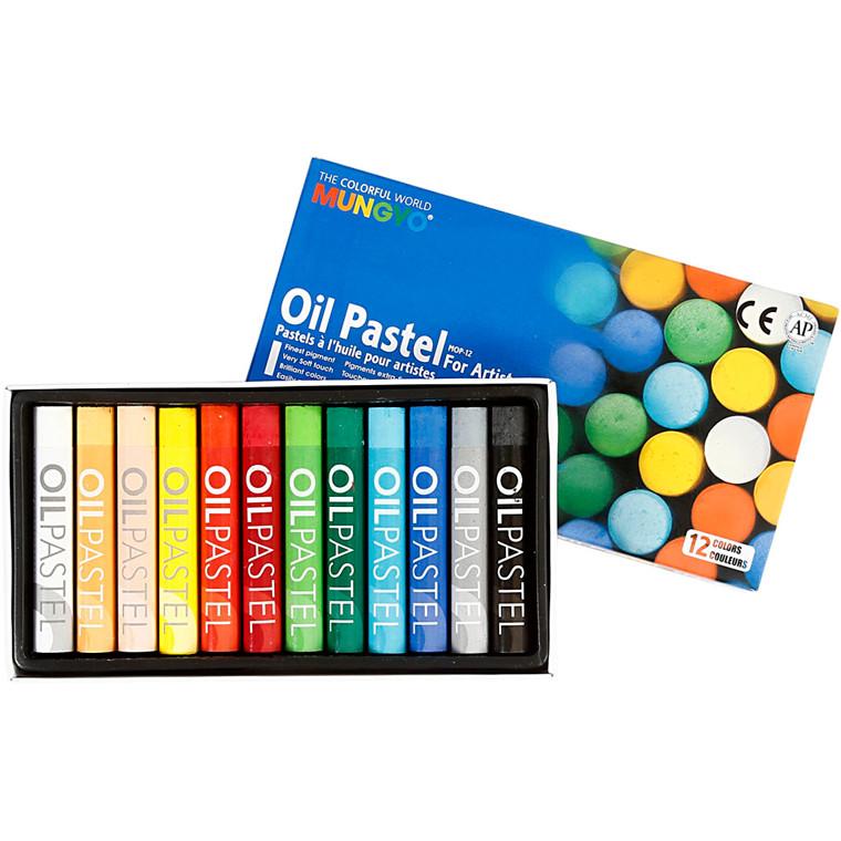 Oliepastel, tykkelse 11 mm, L: 7 cm, ass. farver, 12ass.
