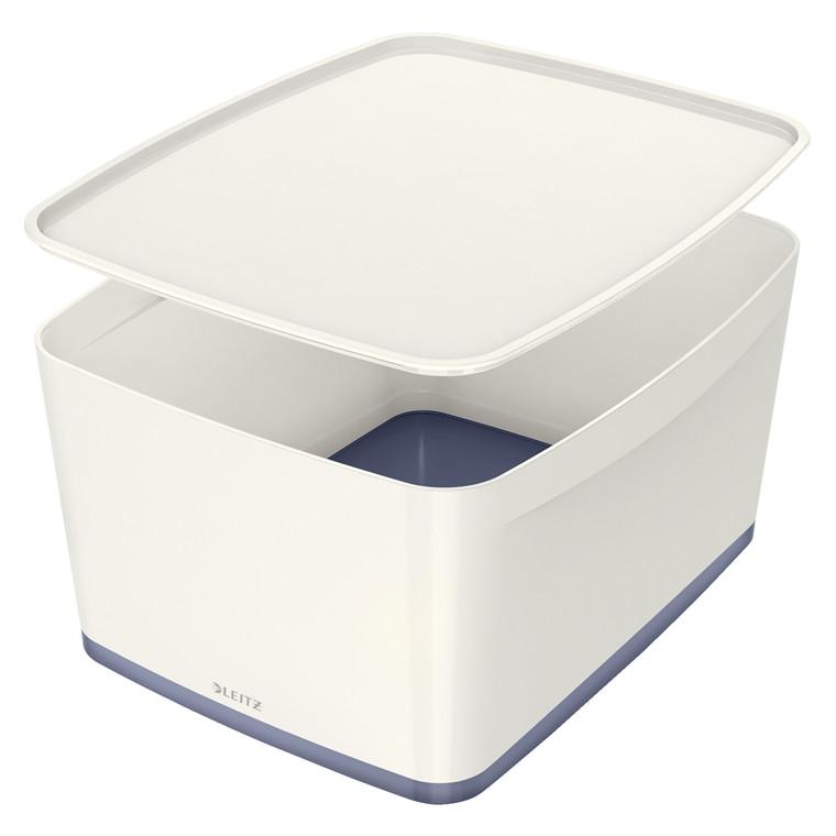Opbevaringsboks Leitz MyBox large med låg hvid/grå