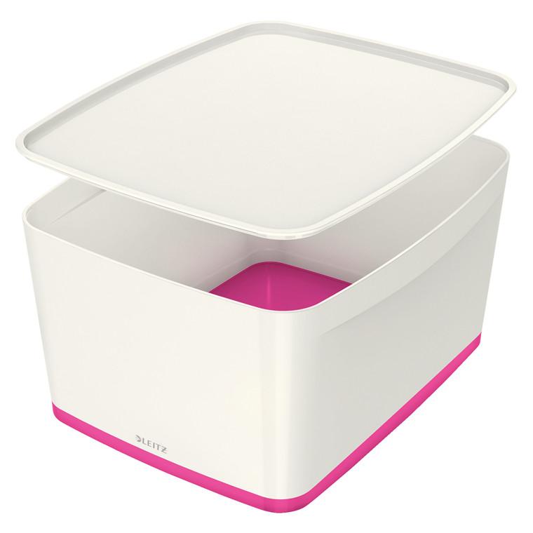 Opbevaringsboks Leitz MyBox large med låg hvid/pink