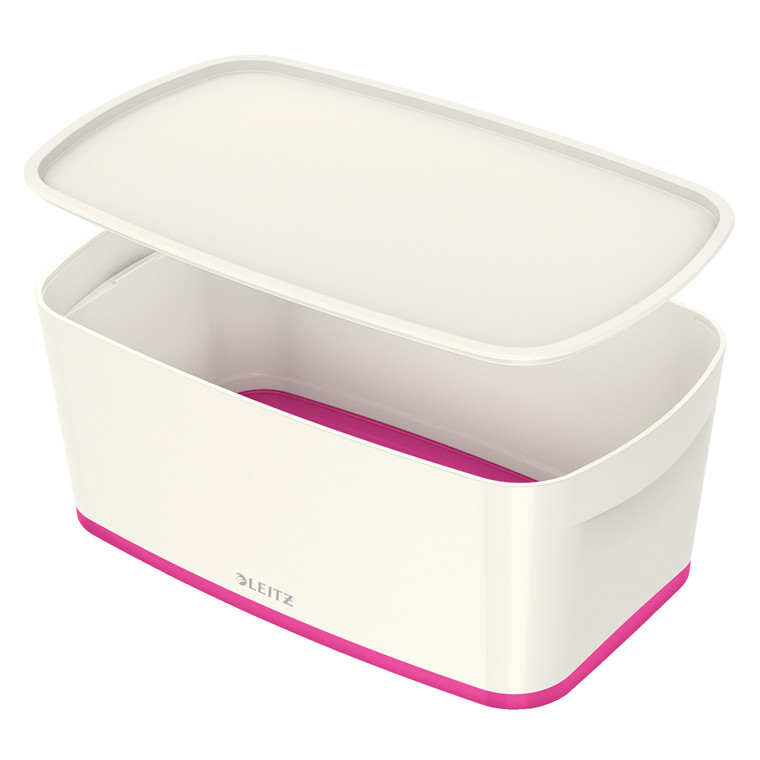 Opbevaringsboks Leitz MyBox small med låg hvid/pink