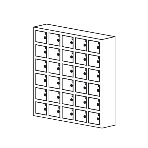 Opbevaringsboks til mobil el. værdier 30rum sort grå hvid