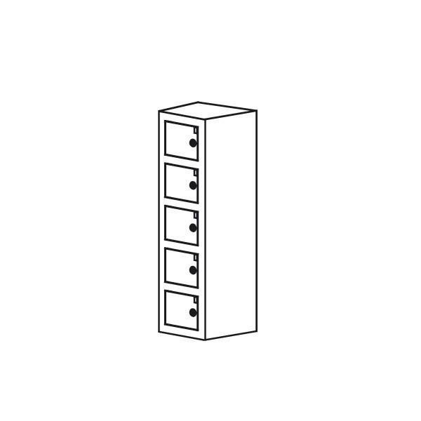 Opbevaringsboks til mobil el. værdier 5rum sort grå hvid