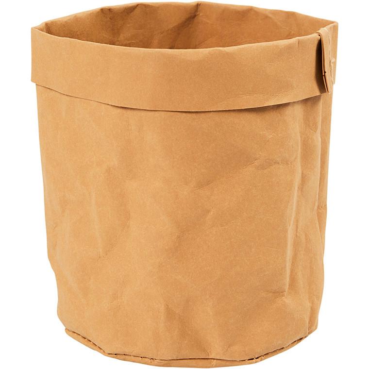 Opbevaringspose af kraftigt læderpapir - Lys brun Ø: 11 cm Højde: 12 cm - 1 stk