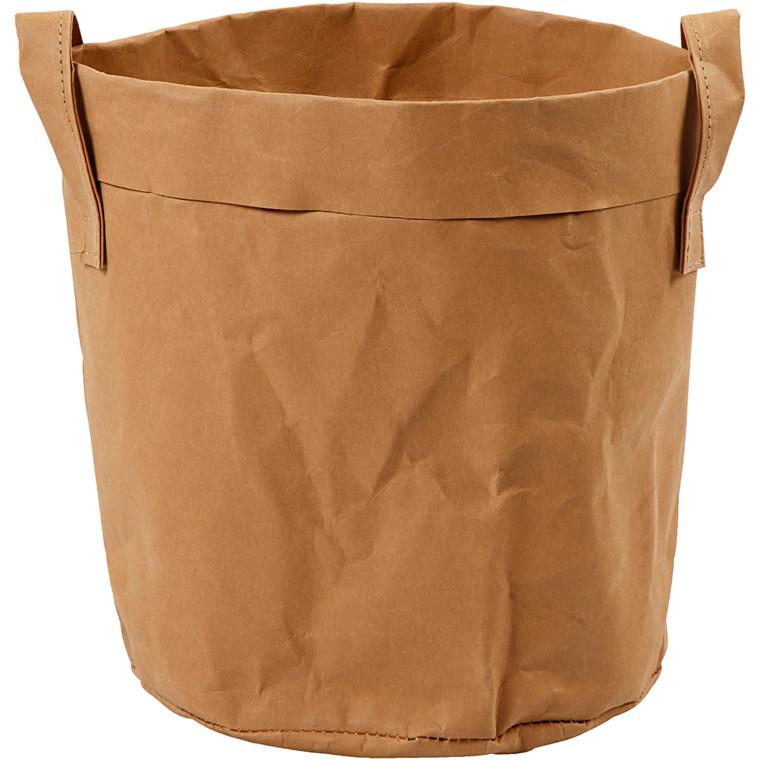 Opbevaringspose lys brun Ø: 19,5 cm Højde: 20 cm | 1 stk